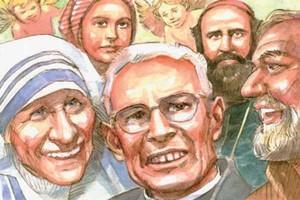 B. Teresa di Calcutta, B. Giacomo Alberione, S. Pio da Pietrelcina, S. Bernardetta Soubirous e S. Daniele Comboni, del pittore G. Trevisan.